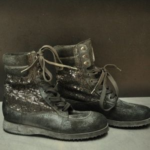 Auth Hogan Suede and sequin Ankle boots